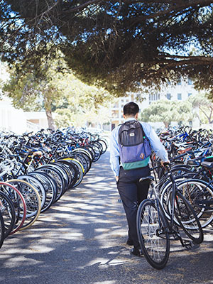 student with bike
